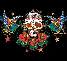 Tattoo Skull Day of the Dead by monsterplanet
