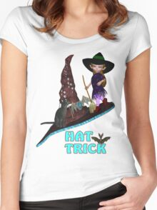 Hat Trick  .. A cute witch and black cat Women's Fitted Scoop T-Shirt