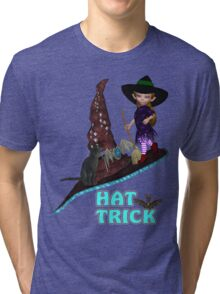 Hat Trick  .. A cute witch and black cat Tri-blend T-Shirt
