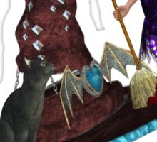 Hat Trick  .. A cute witch and black cat Sticker