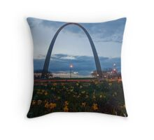 Gateway Arch with flowers in the foreground. Throw Pillow