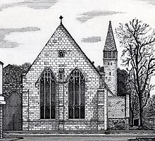 177 - ST. MARY'S CHURCH, BLYTH - DAVE EDWARDS - INK - 1990 by BLYTHART