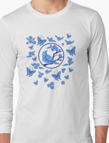 Bird, Butterflies, and Blossoms Long Sleeve T-Shirt