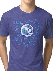 Bird, Butterflies, and Blossoms Tri-blend T-Shirt