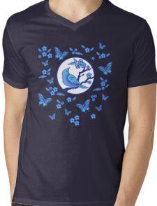 Bird, Butterflies, and Blossoms Mens V-Neck T-Shirt