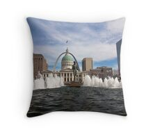 Old Courthouse and Gateway Arch during the day Throw Pillow