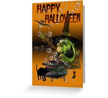 Happy Halloween .. a wacky witch with her familars Greeting Card