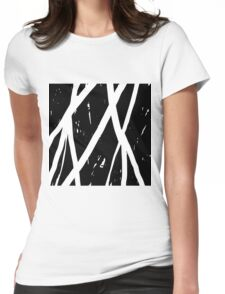 abstract white stripe Womens Fitted T-Shirt
