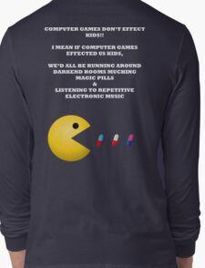 PAC MAN COMPUTER GAMES ELECTRONIC EATING PILLS WHITE Long Sleeve T-Shirt