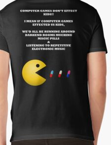 PAC MAN COMPUTER GAMES ELECTRONIC EATING PILLS WHITE Mens V-Neck T-Shirt