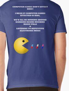PAC MAN COMPUTER GAMES ELECTRONIC EATING PILLS WHITE Mens V-Neck T-Shirt