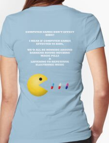 PAC MAN COMPUTER GAMES ELECTRONIC EATING PILLS WHITE Womens Fitted T-Shirt