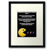 PAC MAN COMPUTER GAMES ELECTRONIC EATING PILLS WHITE Framed Print