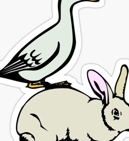 RABBIT BUNNY AND DUCK  Sticker