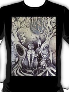 they danced under the light of the moon cat art T-Shirt