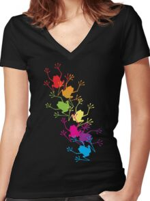 Rainbow Frogs Women's Fitted V-Neck T-Shirt