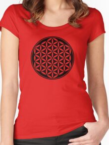 FLOWER OF LIFE - SACRED GEOMETRY - HARMONY & BALANCE Women's Fitted Scoop T-Shirt