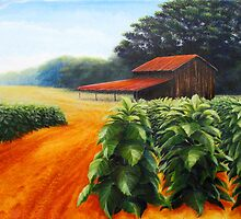 August Tobacco with Barn by Duane Dorshimer