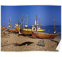 Fishing boats on Hastings beach East Sussex, UK Poster