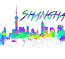Shanghai China Skyline in water colour by jackelstub