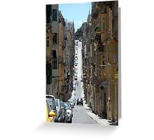 Narrow Street with Houses and Balconies in Malta Greeting Card