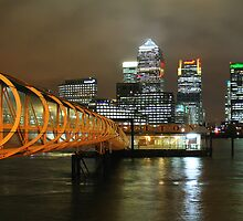 London Docklands at night by CliveHarris