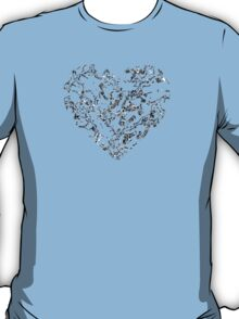 Lace Silver Heart (on black) T-Shirt