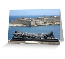 Fallen Soldier Memorial Statue Overlooking Grand Harbour Malta Greeting Card
