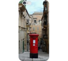 Traditional Red Post Box in Narrow Street in Malta iPhone Case/Skin