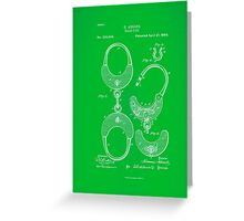 Hand cuff Patent 1880- Green Greeting Card