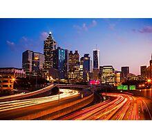 Atlanta Skyline at Night Photographic Print