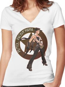 Pistol Packin' Mama (spicy) Women's Fitted V-Neck T-Shirt