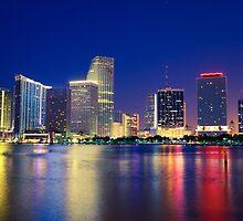 Miami Skyline at Night by giof