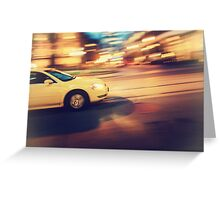 Taxi driving in the city Greeting Card