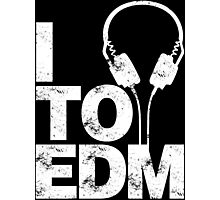 I Listen to EDM (white) Photographic Print