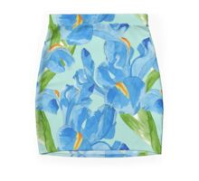 Watercolor iris spring flowers  Pencil Skirt