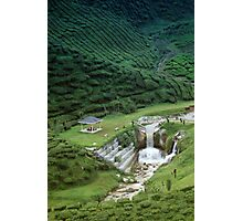 Man made waterfall in exotic tea plantation Photographic Print