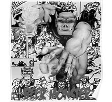 Rubbernorc Beer Monster Comic Collage Poster