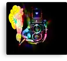 psychedelic vintage film camera Canvas Print
