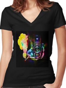 psychedelic vintage film camera Women's Fitted V-Neck T-Shirt