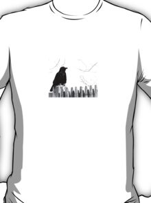 Crow on a Fence  T-Shirt