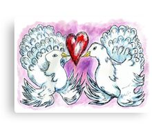 Doves and Heart Canvas Print