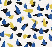 Blue, Yellow & Black Abstract by Iveta Angelova