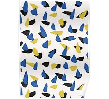 Blue, Yellow & Black Abstract Poster