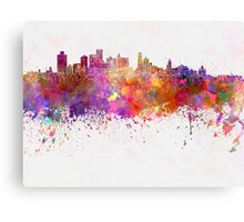 Brooklyn skyline in watercolor background Canvas Print