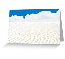 WHITE SANDS, WHITE CLOUDS, BLUE SKY AND ATOM BOMBS Greeting Card