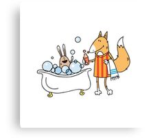 Bathing of a hare. Canvas Print