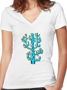 Cactus azul Women's Fitted V-Neck T-Shirt