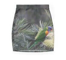 Rainbow Lorikeet Feeding on moonlight Grevillea Mini Skirt