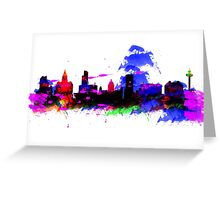 Watercolor art print of the skyline of Liverpool Greeting Card